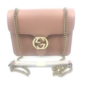 Gucci #510304 GG Closure Pink Leather Crossbody